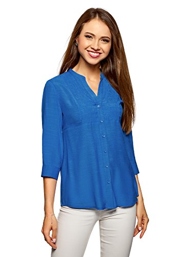 3. oodji Collection Damen Tunika mit V-Ausschnitt, Blau, DE 34 EU 36 XS 52243d4bb3