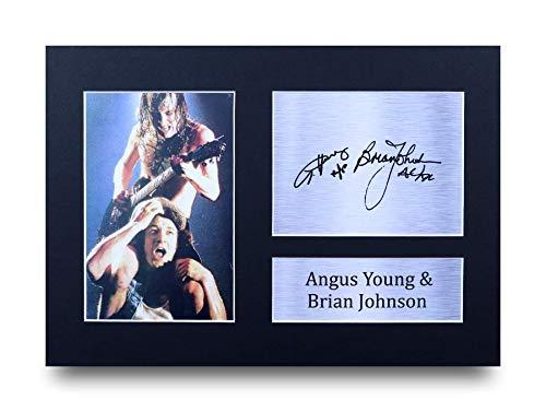 HWC Trading Angus Young & Brian Johnson A4 Ungerahmt Signiert Gedruckt Autogramme Bild Druck-Fotoanzeige Geschenk Für ACDC Musik-Fans -
