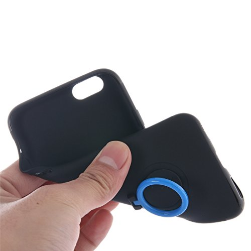 Für iPhone 6 Plus & 6s Plus Ultra Thin Soft TPU Silikon Schutzmaßnahmen zurück Fall Fall mit Ring Halter Stand by diebelleu ( Color : Dark blue ) Dark blue
