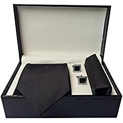 Men's Tie Pocket Square and Cufflink Gift Set(Leather Finish Box)