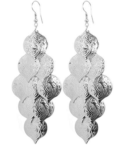 2LIVEfor Statement Ohrringe Gold Silber Ethnik Ornamente Dreieck Ohrhänger Retro Indianer Antik lang hängend Vintage Groß Bohemian Boho (Silber)