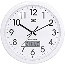Trevi OM 3309 - Reloj de pared analógico con calendario digital y maquinaria de cuarzo de funcionamiento silencioso - Color blanco