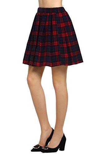 AMORETU Mujeres Falda Escocesa Plisada con Cintura Elástica Escuela Uniforme Algodón Tartán Falda Cuadros Rojo S