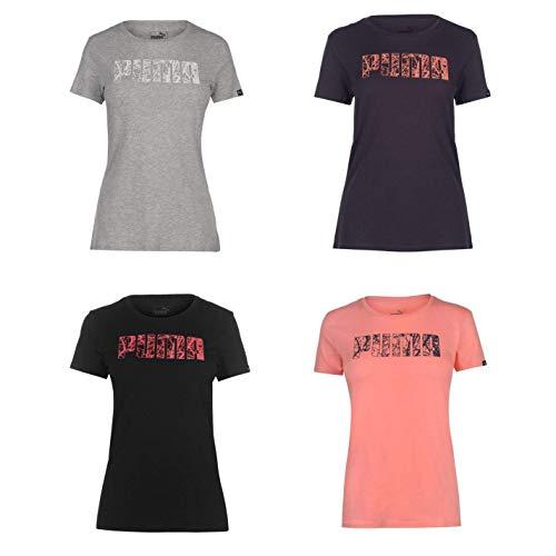 Puma Logo QT T-Shirt Donna Top Maglietta Athleisure Activewear - Grigio, UK 16 (XL)