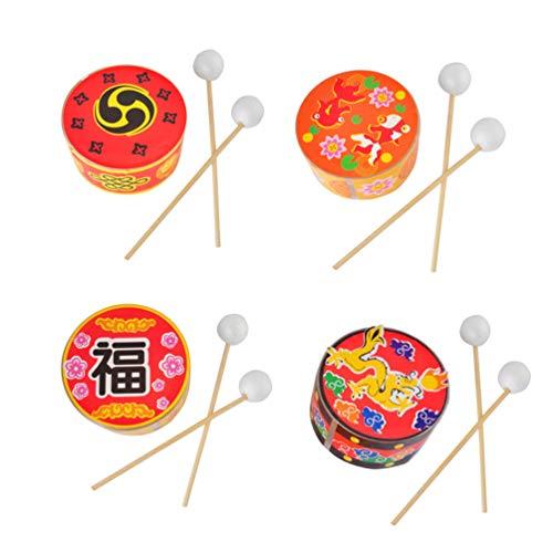 Juguetes de tambor chinos Toyandona de plástico para niños pequeños, 4 unidades