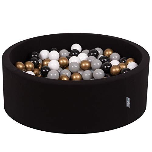 KiddyMoon 90X30cm/200 Balles ∅ 7Cm Piscine À Balles pour Bébé Rond Fabriqué en UE, Noir: Blanc-Gris-Noir-Or
