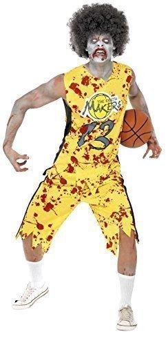 IE BASKETBALL SPIELER SPORT Halloween Horror Kostüm Kleid Outfit - Gelb, Medium (Zombie Basketball Kostüm)