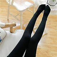 Leggings de Rayas Verticales, Las Mujeres Usan Pantalones Delgados de Hilo Gris Fino, Otoño E Invierno Cálidos Y Terciopelo Medias Gruesas,Incluso Negro,Un tamaño (90-1