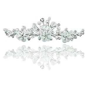 Hübsche Blumen Elfenbein Strass Kristall und Perle Hochzeit Brautschmuck Diadem Tiara