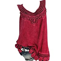 CRYYU Womens Plus Size Summer Lace Stitching Solid Sleeveless Tank Top Shirts Wine Red 4XL