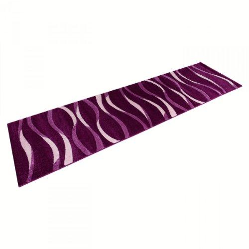 Teppich Läufer Sam Linien lila in 80 x 300 cm