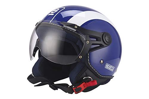Sparco Riders Casco Moto Demi Jet, Blu, Taglia L
