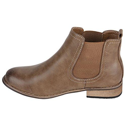 Stiefelparadies Damen Chelsea Boots Klassische Stiefeletten Glitzer Leder-Optik Schuhe Profilsohle Booties Knöchelhohe Stiefel Übergrößen Flandell Khaki Avelar