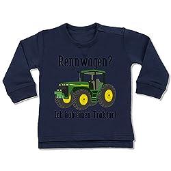 Shirtracer Fahrzeuge Baby - Rennwagen? Traktor! - 18/24 Monate - Navy Blau - BZ31 - Baby Pullover