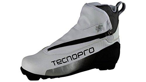 Tecnopro Damen Langlauf-Schuh Safine Sonic Pro Prolink Skilanglaufschuhe, weiß/Schwarz/Silber, 5 (Nnn Langlauf Schuhe)