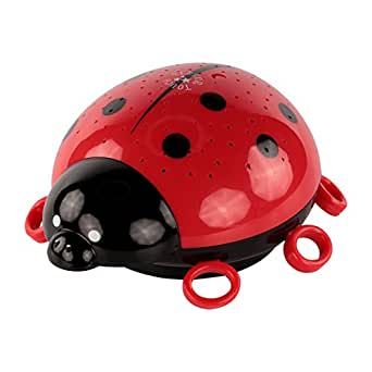 ANSMANN Child's LED Nightlight ladybird with starlight projection onto walls and ceilings in darkness, colour changing setting, ideal for kid's bedroom as great sleeping aid - 5870012