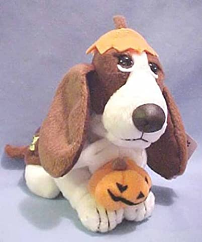 Hush Puppies Pumpkin Beanie Basset Hound Dog Jack O Lantern SAD Eyes so Adorable by Dakin Applause