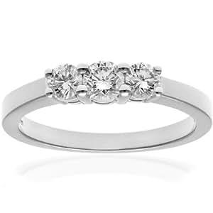 Naava Women's 18 ct White Gold Trilogy Ring, IJ/I Certified Diamonds, Round Brilliant, 0.50ct, White Gold, J