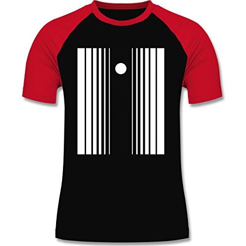 Karneval & Fasching - Doppler Effekt - L - Schwarz/Rot - L140 - zweifarbiges Baseballshirt für (Kostüm Effekt Der Doppler)