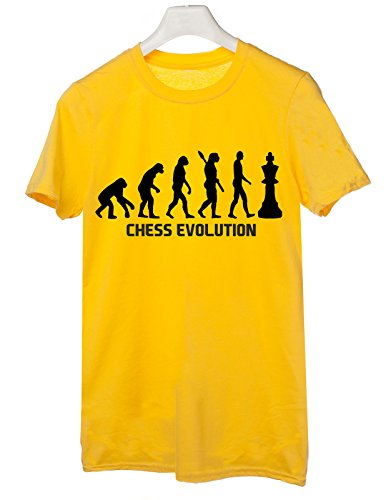 Tshirt Chess Evolution - evolution - chess - scacchi - sport - humor - in cotone Giallo
