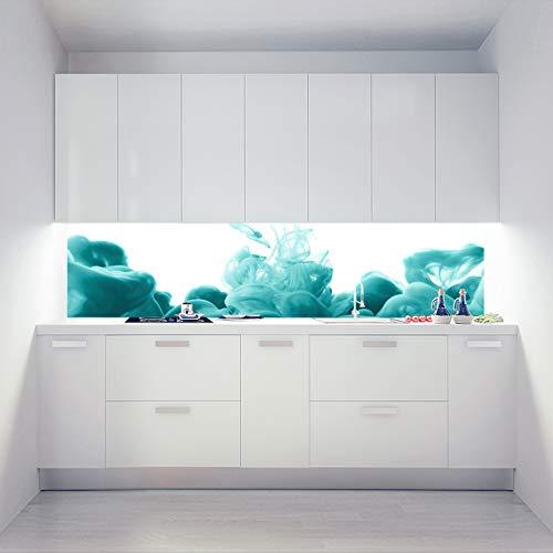 Küchenrückwand Acrylglas als Einzelplatte oder Plattenset für Eck und U-Form Küchen Zuschnitt auf Maß - Motiv Ace Vape Türkis