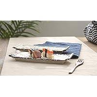 HUAVIN 2 piezas Plato de cerámica estilo japonés Rejilla rectangular Bandeja plana Sashimi Sushi plato hotel