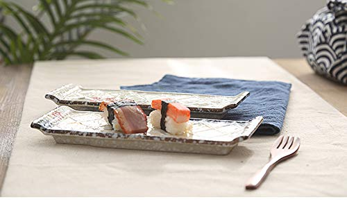 HUAVIN 2 piezas Plato de cerámica estilo japonés Rejilla rectangular Bandeja plana Sashimi Sushi plato hotel restaurante casa