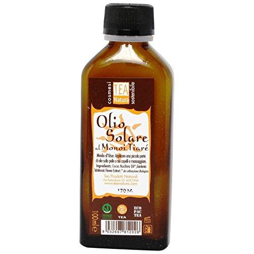 TEA NATURA - Monoï Tiareé Huile Super Bronzante - Huile Douce et Délicate Multi-usages - Hydratante et Nourrissante pour la Peau et les Cheveux - Vegan - 100 ml