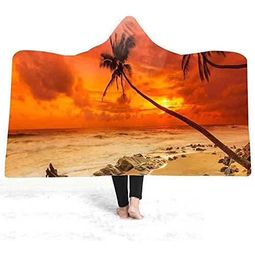 Gustave Tomlinson Beach Sea Printed Hooded Blanket Winter Warmer Plüsch-Umhang Tragbare Baddecke, Schal-Bademantel Klimatisierte Raumschläfchen-Decke