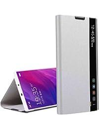 Oihxse Funda Compatible con Samsung Galaxy Note 8 Carcasa Clear View Ultra Slim Standing Flip Tipo Inteligente Estuche PU Piel 360° Protectora Resistente Anti-Choque Case Cover (Plata)