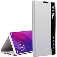 Oihxse Funda Compatible con Samsung Galaxy M30S Carcasa Clear View Ultra Slim Standing Flip Tipo Inteligente Estuche PU Piel 360° Protectora Resistente Anti-Choque Case Cover (Plata)