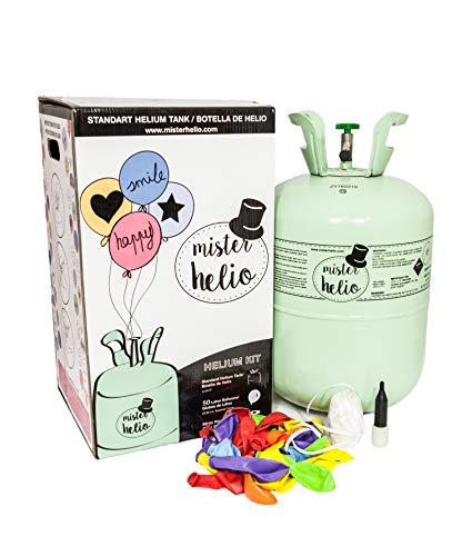 Botella helio desechable pequeña Mr helio. Botella de 0,25m3 de helio para inflar globos de látex y de foil. Con válvula flexible y llave de paso. Nuestro kit incluye: *Botella de helio desechable Grande con capacidad de 0,25m3 (2,5 litros). *30 glob...