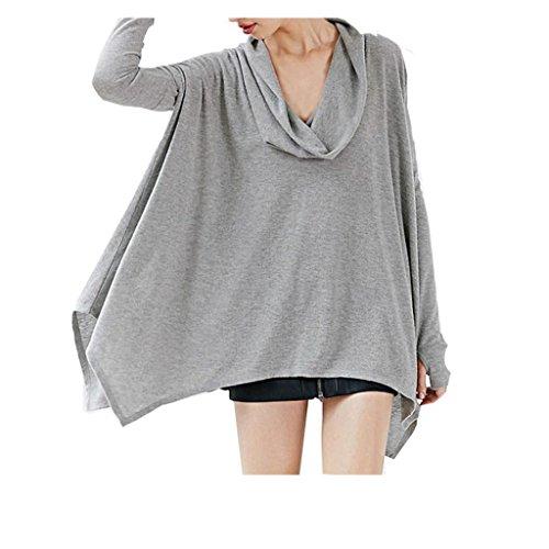 Koly_Collare Donna Autunno Inverno camicetta Batwing delle parti superiori T-shirt (s)