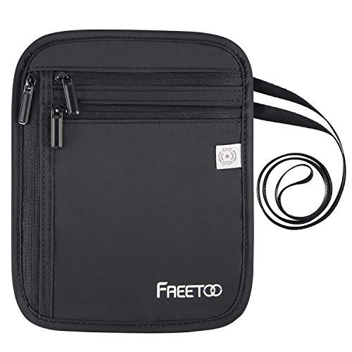 FREETOO Brustbeutel Organizer mit RFID-Schutz Reisegeldbeutel Sicherheit Wasserfeste Brusttasche für Smartphone und Reise-Dokumente Leichte Halsgeldbörse zum Umhängen für Damen, Herren, Kinder