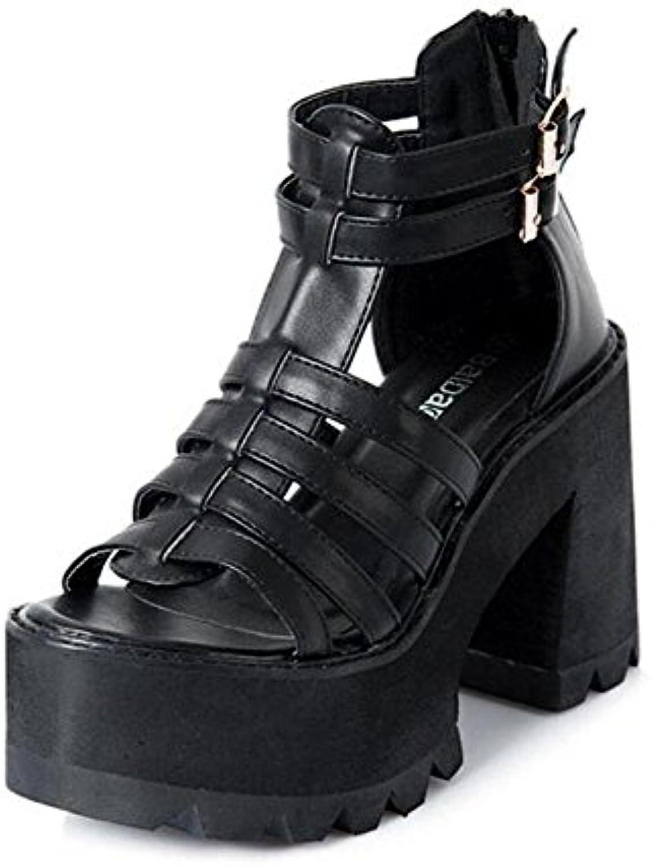 cb262d4a477 Women Peep Toe Toe Toe Pumps Rough Heel Waterproof Buckle Toe High Heels  Sandals Heels Platform Shoes Black B072BX9LQ3 Parent 36c321