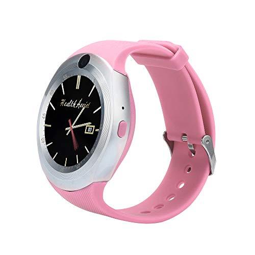 FeiliandaJJ Smartwatch Herren Damen Bluetooth Wasserdicht Fitness Tracker MP3/MP4-player SIM Karte Slot Smartwatch Anti-verloren Kompatibel Android IOS Phones (Rosa) Bluetooth-quad-band-mp3-player