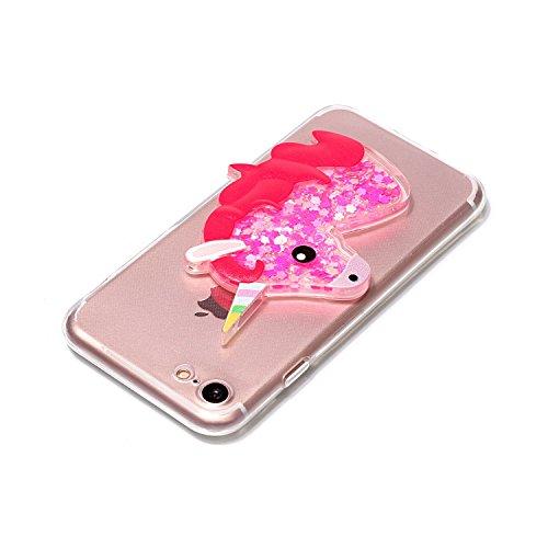 Cover iPhone 6S Plus 6 Plus Unicorno, E-Unicorn Custodia Cover Apple iPhone 6S Plus 6 Plus Brillantini Glitter 3D Rosso Unicorno Liquido Trasparente con Disegni Cristallo di Bling Silicone Ultra Sotti Rosso