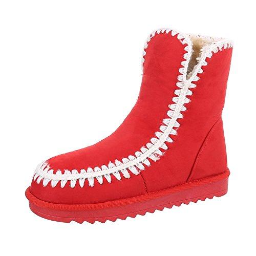Ital-Design Snowboots Damen-Schuhe Klassische Stiefel Warm Gefütterte Stiefeletten Rot, Gr 41, P-1-