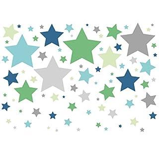 anna wand Wandsticker STARS 4 BOYS TÜRKIS/GRÜN/GRAU - Wandtattoo für Kinderzimmer/Babyzimmer mit Sternen in versch. Farben - Wandaufkleber Schlafzimmer Mädchen & Junge, Wanddeko Baby/Kinder