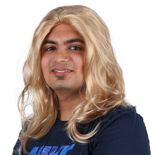 PKQ® Perücken Herren, Blond Natural Long Locken Männer Perücke Lang Curly Haar Kunsthaar Haarteile für Cosplay Party Club Bar Festival Halloween Fasching (Einheitsgröße)