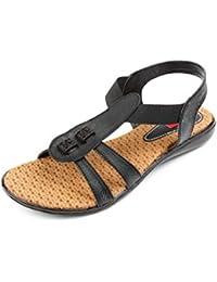 Finesse Women's Black Designer Casual PU Flat Sandals