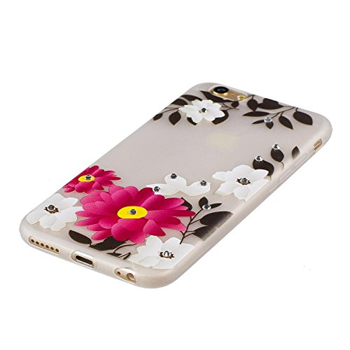 Coque iPhone 7 , Etui iPhone 7 , Anfire Lumière Noctilucent Etui Souple Flexible en Premium TPU Apple iPhone 7 Plus (4.7 pouces) Ultra Mince Gel Silicone Transparent Clair Housse de Protection Nuit So Fleur rouge