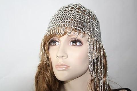 Kopfschmuck Bauchtanz Bollywood Schmuck Karneval Fasching Orient Haarnetz Kappe in silber (Arabischen Tracht)
