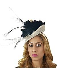 af3adb0d954a1 Hats By Cressida Ladies Wedding Races Ascot Derby Fascinator Headband Black  Cream