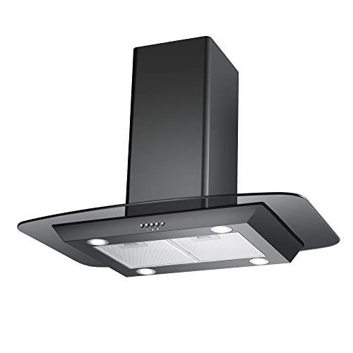 41PrRfMOBdL. SS500  - Cookology FLID900BK 90cm Island Chimney Cooker Hood in Black | Extractor Fan