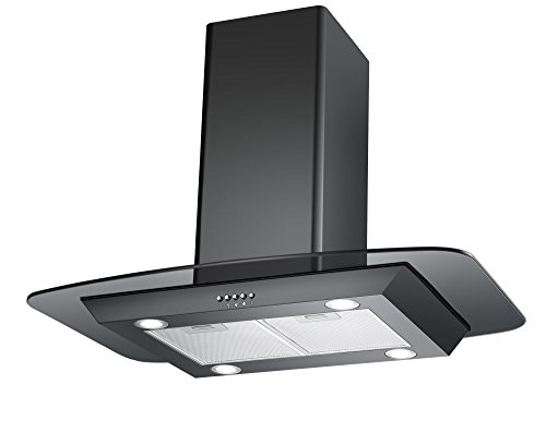 41PrRfMOBdL - Cookology FLID900BK 90cm Island Chimney Cooker Hood in Black | Extractor Fan