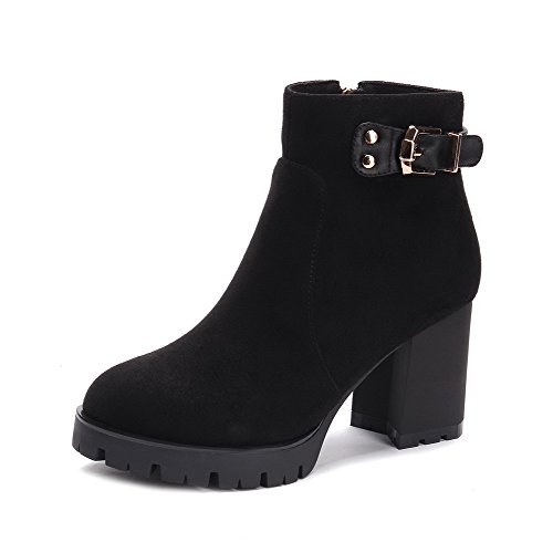 AllhqFashion Damen Rein Blend-Materialien Rund Zehe Reißverschluss Stiefel, Schwarz, 39