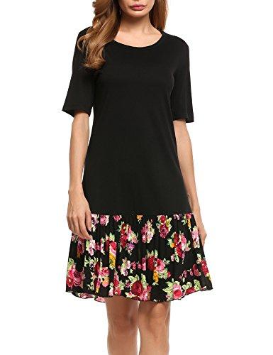 Parabler Damen Sommerkleider T-Shirt Kleid kurzärmelig knielang Baumwollen Blumenmuster locker Farbblöcken- Gr. XL, Schwarz
