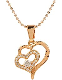 Ananth Jewels Heart Shaped Rose Gold Plated Pendant Necklace For Women - B073T3KW84