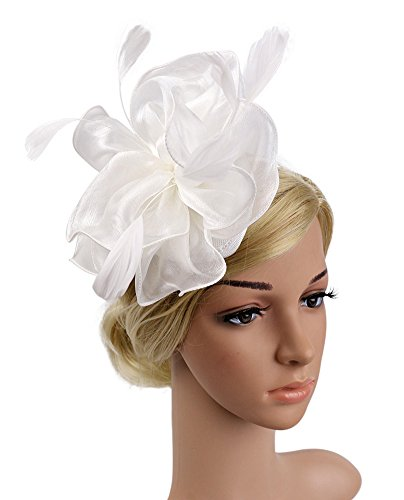 Pluto & Fox Ladies 'Tulle Federn Fascinator Hochzeit Party Cocktail Schleier (Weiß) - Fox Womens Hut